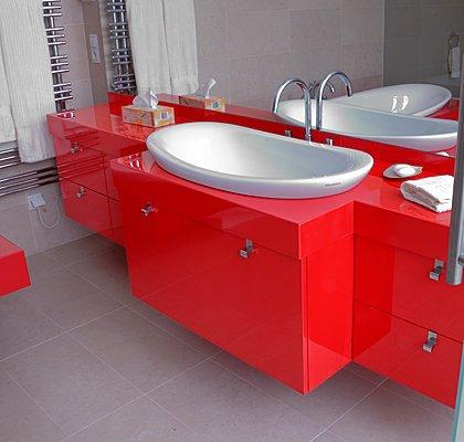 Waschbeckenverbau Lack Rot Hochglanz