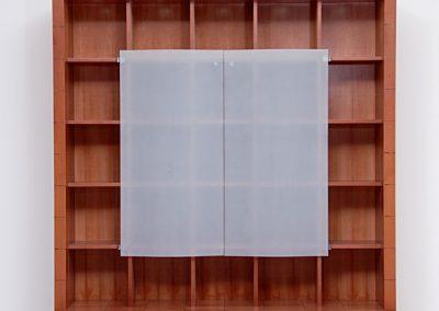 Schrank mit wellenförmiger Glasfront